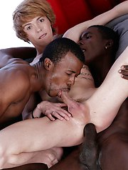 bused: Cute blond twink gets a double-penetration cocktail & a face-load of black jizz!